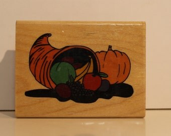 Thanksgiving Cornucopia Harvest Rubber Stamp