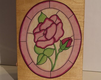 Open Rose in Stain Glass Oval Frame Rubber Stamp Bible Journaling