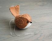 Felt Bird Ornament Light Brown Embroidered Handmade Wool Felt Bird