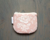 Romantic Pink and White Rose Floral Coin Purse Small Zipper Pouch