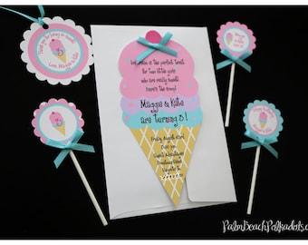 10 ICE CREAM party sweet shoppe Birthday Invitations Invite by Palm Beach Polkadots