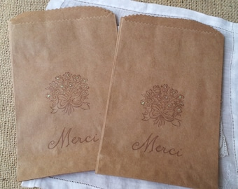 Roses Merci Thank You Favor Bags Set of 8