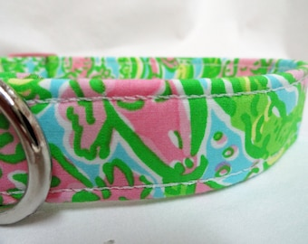 Lilly Pulitzer Chomp Chomp Fabric Dog Collar Girl Boy Alligators