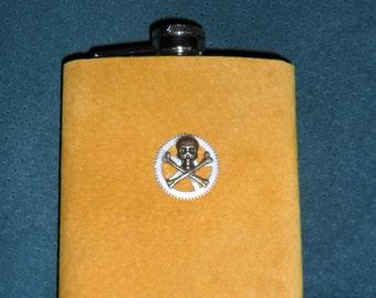 Mustard Suede Leather Steampunk Hip Flask