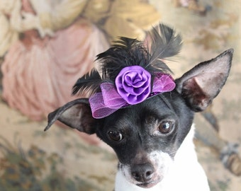 Purple color  mini  hat with   feather and flower  for dog or cat