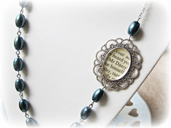 Mr. Darcy Necklace with Navy Glass Pearls
