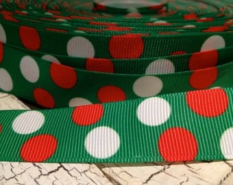 "3 yards 7/8"" CHRISTMAS Red White Polka Dot on Green Grosgrain Ribbon sold by the yard"