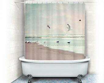 "Beach Fabric Shower Curtain ""Take off"" ocean,beach, aqua home decor,teal,turquoise,pastel,nautical decor,seagulls,seashore,sand,summer"