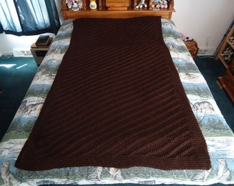 Espresso Hand Knitted Diagonal Stripes Afghan, Blanket, Throw - Home Decor