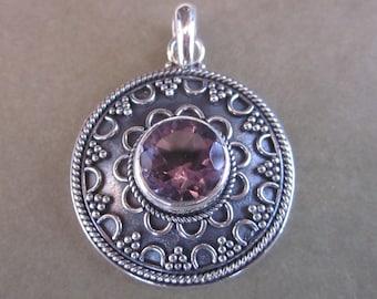 Balinese Sterling Silver Pendant Amethyst  / silver 925 / Bali handmade jewelry / 1.10 inch long / silver granulation art ( #15p )
