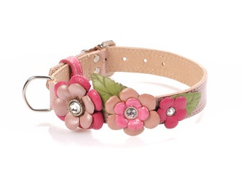Rose Garden , Pearl Pink  Genuine Leather Dog Collar , Swarovski crystals
