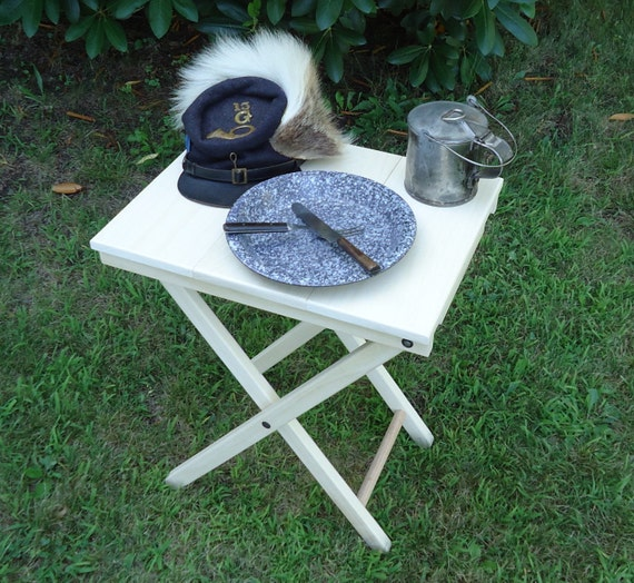 RESERVED LISTING FOR Undearseaoverair - Civil War Folding Camp Table 18 x 14