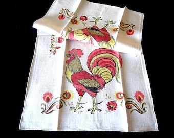 TOWEL Vintage but unused Retro LINEN Print kitchen glass dish cloth RETRO Farm Rooster