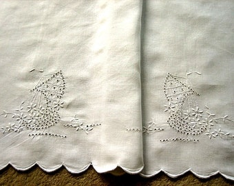 Runner Vintage Antique White Pillow Case Duster Throw Lace Trim or Table Scarf Sailboats