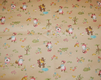 Kawaii Japanese Import Red Riding Hood Three Little Pigs Bremen Town Musicians Fabric 1 yard Out of Print Vintage Retro