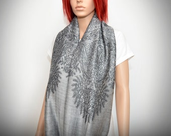 Light Gray floral loop scarf  - Pashmina Infinity scarf
