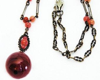 Early Art Deco Carnelian Glass Necklace