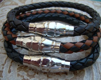 Saddle Braided Mens Leather Bracelet with Stainless Steel