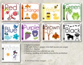 Color Wall Cards - DIY Printable for preschool, early elementary, nursery decor, teaching material, educational printables