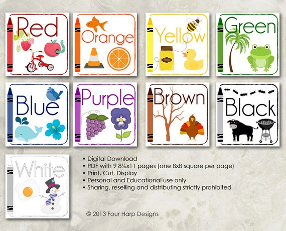 Set Alphabet Amp Colors Wall Cards Diy Printable For