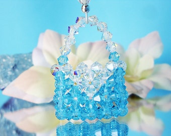 Swarovski Crystal Keychain Turquoise Blue Key Chain for Women Mothers Day Gift