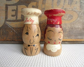 Vintage Chippy Salty and Peppy Wooden Shakers made in Japan