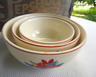 Vintage 1930s Calico Fruits Universal Cambridge Mixing Bowls set of 3