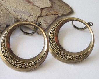 Brass Hoop Earrings, Metal Dangle Earring, Black and Antiqued Gold Rose Donut