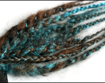 Brown and turquoise mini dread fall - synthetic dread extensions