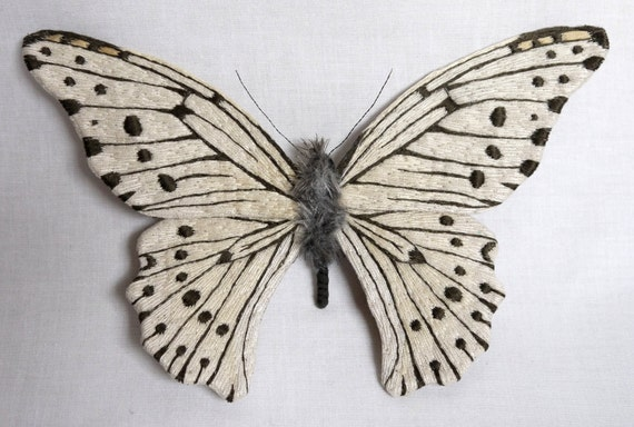 Fabric sculpture -Large white with black spotted butterfly textile art