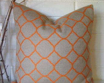 Orange Fretwork pillow cover accent pillow throw pillow