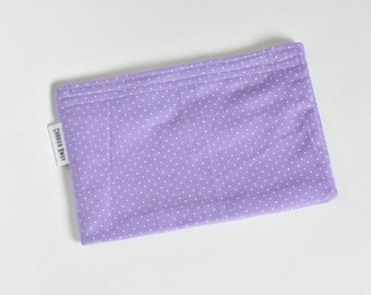 All Cotton Snack Bag - Purple With White Dots