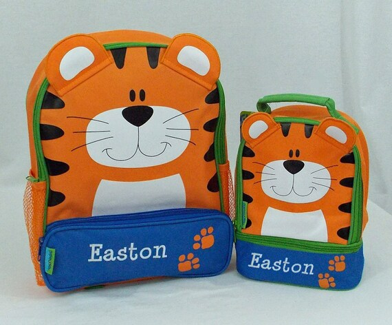 Personalized Stephen Joseph TIGER Themed Sidekick Backpack and Lunch Pal Lunchbox