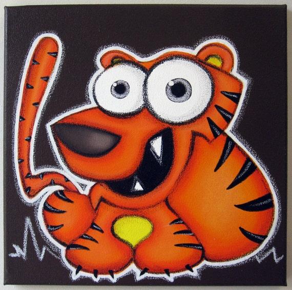 HaPPy TiGEr - original 12 x 12 acrylic painting on canvas for childs room or nursery, animal art, zoo animal, orange tiger