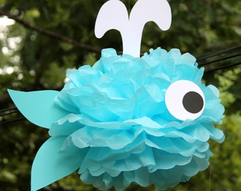 Whale tissue paper pom pom kit  under the sea ocean water mermaid decoration