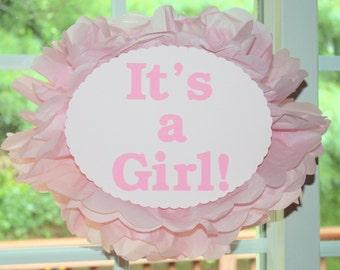 It's a Girl It's a Boy tissue paper pom pom kit  baby shower pink baby girl gender reveal