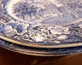 TWO Wedgewood Liberty Blue china plates Bicentennial edition--Independence Hall