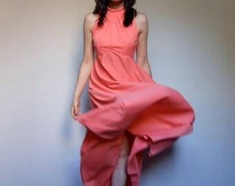 70s Dress Coral Maxi Dress Simple Long Dress - Medium M