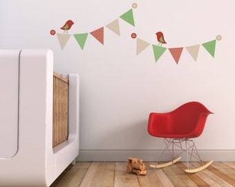Wall Decal, Nursery Decal and Wall Decal for Children's Rooms. Pennants and Birds Children Wall Decal