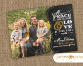 Chalkboard Art - Peace Be Your Blessing Holiday Card (4x6 or 5x7) - Digital File