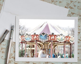 Paris Carousel Photo Notecard - Carousel of Heart Note Card, Floral Photo Notecard, Stationery, Blank Notecard