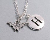 Vampire Bat Necklace, Bat Charm, Bat Keychain, Sterling Silver Charm, Engraved, Personalized, Monogram