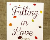 Falling in Love Sign 5x5 or 10x10 - Autumn Wedding Sign - WeddingMonograms