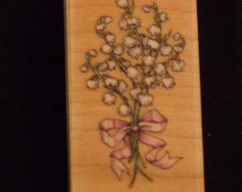 Reduced! Lily of the Valley Bouquet - Great New WM Rubber Stamp - Cards - Crafts - ATC - Domino Art - Scrapbooks - FREE Shipping
