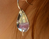 Sterling Silver Pink Petal Earrings, Handmade in Maine