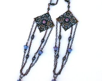 Long Statement Earrings Vintage Filigree Czech Glass Shoulder Duster Blue Mauve Purple Brass Copper Bronze Chain Victorian Boho