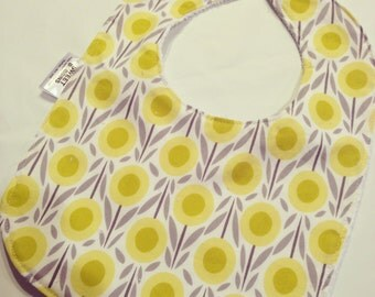 Organic Yellow Blossom - Infant or Toddler Bib - Terry Cloth Backing - Reversible with ADJUSTABLE Snaps