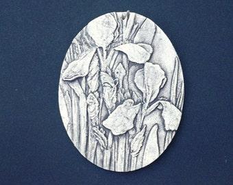 Iris Ceramic Pottery Relief Flower Sculpture Tile