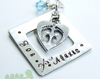 Mother charm necklace - Mommy jewelry - Baby feet necklace - Square charm