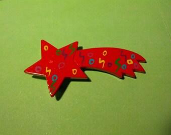 shooting star pin brooch art avant garde 80s eighties plastic